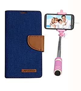 Aart Fancy Wallet Dairy Jeans Flip Case Cover for MicromaxQ380 (Blue) + Mini Fashionable Selfie Stick Compatible for all Mobiles Phones By Aart Store