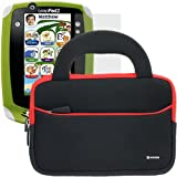 BIRUGEAR Ultraportable Dual Pocket Handle Carrying Neoprene Case with Screen Protector for LeapFrog Leappad 2 Explorer Kids Learning Tablet