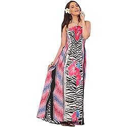 one-size-fits-più tubino / insabbiamento-fiori di ibisco e foglio stampato rosa