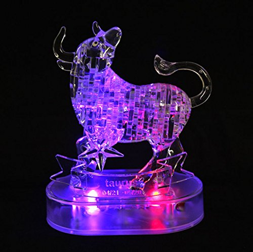 Graces Dawn® Crystal Twelve Constellations Deluxe 3D Puzzle Colorful Crystal Decoration (Taurus)