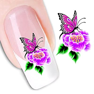 Ottery Beautiful Water Transfers Decals Design Pink Butterfly Flowers Nail Art Decoration Stickers
