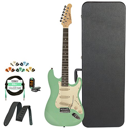 Sawtooth Classic Es 60 Alder Body Electric Guitar, Surf Green W/Aged White Pickguard, Case, Cable, Picks, Strap And Tuner