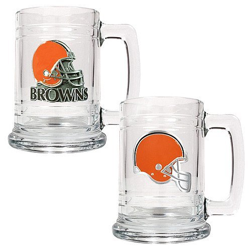 Nfl Cleveland Browns Two Piece 15-Ounce Glass Tankard Set - Primary & Helmet Logo