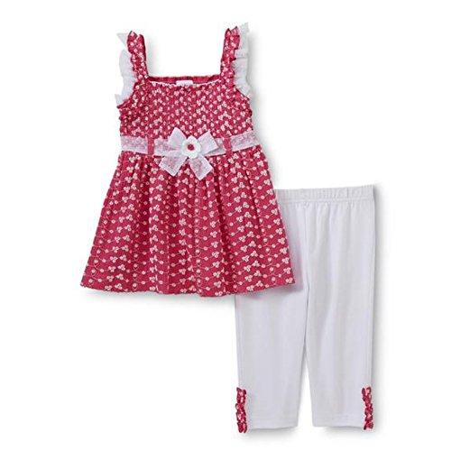 c74aac581ca48 Wonder Kids Baby Girls Embroidered Summer Tunic Top + Capri Leggings Pants  Pink White Flowers 110 - Babaloo