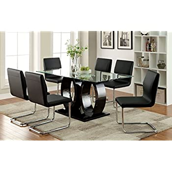 Furniture of America Quezon Glass Top Double Pedestal Dining Table, Black