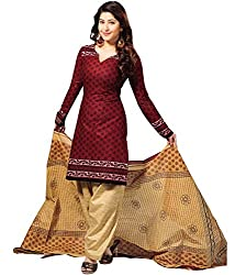 Fashionx Maroon cotton printed unstitched dress material