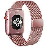Apple Watch Band 42mm, iMOMO iWatch Milanese Stainless Steel Bracelet Strap Mesh Loop Replacement with Magnetic Closure Clasp for Apple Watch Series 3 Series 2 Series 1 Edition 42mm - Rose Gold
