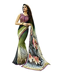 LEEWODEAL Multicolor Georgette Saree with Blouse Piece