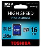 Toshiba SD-C016UHS1BL5 Carte Mémoire Micro SD avec Adaptateur 16 Go