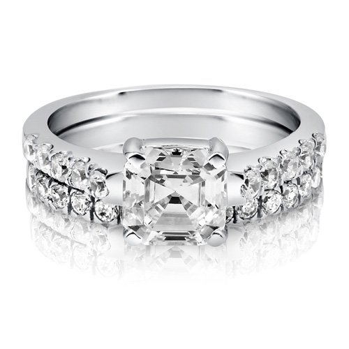Asscher CZ 925 Sterling Silver 2-Pc Solitaire Bridal Ring Set 1.96 Ct - Nickel Free Engagement Wedding Ring Set Size 6