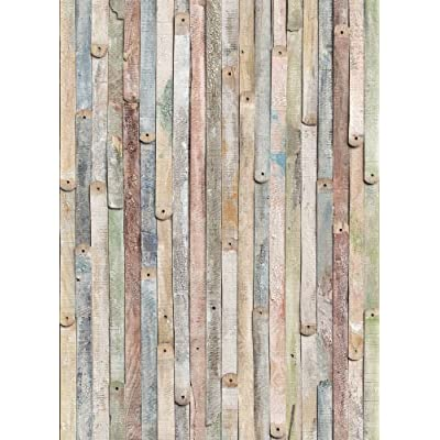 Komar 4 910 vintage wood 4 panel wall mural wallpaper for Brewster wallcovering wood panels mural