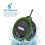 VicTsing Wireless Bluetooth 3.0 Waterproof Outdoor & Shower Speaker with 5W Speaker/Suction Cup/Mic/Hands-Free Speakerphone - Army Green
