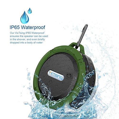 VicTsing 防水屋外/屋内無線A2DPステレオのBluetooth Bluetooth3.0 ワイヤレススピーカー お風呂にも使える防水IP65スピーカー USBスピーカー iPhone/iPhone6/iPhone6 plus/iPhone5s/iPad/ipod/スマホ対応なポータブルスピーカー グリーン[並行輸入品]