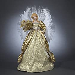 Seasons of Elegance Deluxe Gold Lighted Fiber Optic Angel Christmas Tree Topper