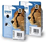 2 Black Original Epson Printer Ink Cartridges for Epson Stylus SX215