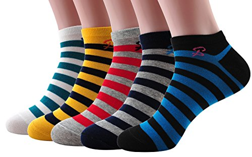 EZclassy-Man's 5 or 10 Pack No Show Colorful Athletic Ankle Socks