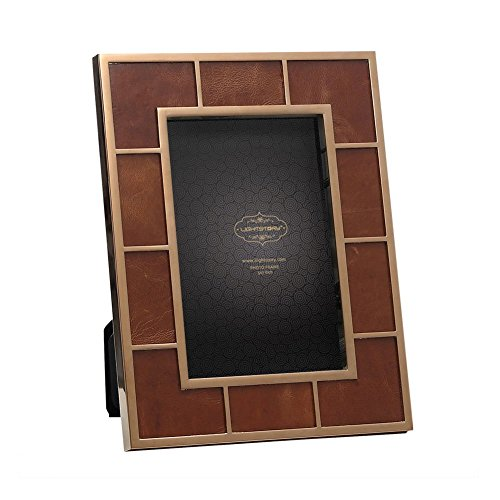LIGHTSTORY Brown Leather Bronze Picture Frame for 5x7 Pictures, Table Photo Frame with Stand (Leather Picture Frame 5x7 compare prices)