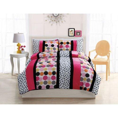 Fun Pink Purple Black Grey White Dot Girls Soft Comforter Set Full, Twin Szs front-1057979