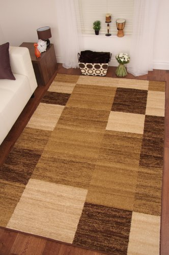 Toledo Chocolate Brown Beige Tan Patchwork Modern Rugs 5226 160x230cm (5'3