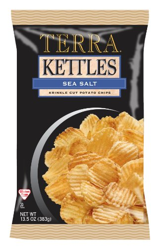 Terra Kettles Krinkle Cut Sea Salt Potato Chips, 13.5 Ounce Bags (Pack of 12)
