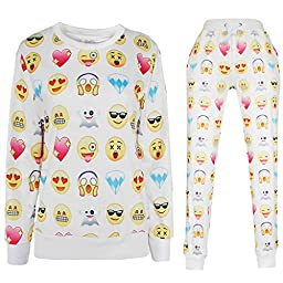Emoji 3D Sweatpants Expression Joggers Pants Sweater Sweatshirt Sweatsuits US size L/Tag XL White Suits