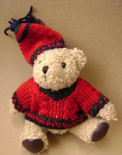 Teddy Bear in a Wool Sweater and Beanie Stuffed