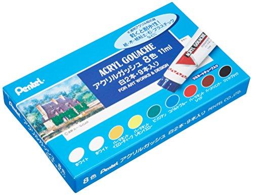 (Confezione da due bianco) set 8 colori gouache tubi laminati acrilici (Giappone import / Il pacchetto e il manuale sono in giapponese)