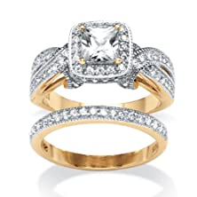 buy Princess-Cut White Cubic Zirconia 18K Gold Over .925 Sterling Silver 2-Piece Halo Bridal Set