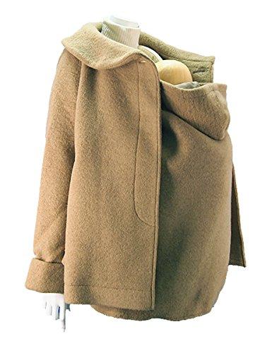 クロスプラス a・i・n 2WAY スライバーニット 抱っこ専用 赤ちゃん足入れ付 ママポンチョ(ママコート) (M, キャメル)