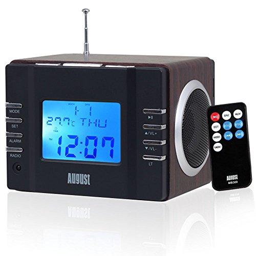 August MB300 Mini Radiosveglia con lettore MP3 in legno e radio FM, lettore di schede, porta USB e ingresso AUX (3.5 mm jack), 2 altoparlanti Hi-Fi e batteria ricaricabile 3W incorporata