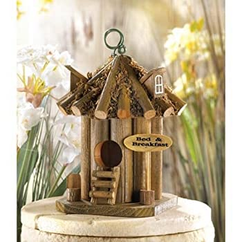 Gifts & Decor Bed and Breakfast Hanging Wooden Garden Bird House