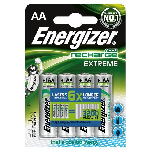 Energizer 635730 Extreme Batteria Ricaricabile, AA, 2300 mAh, Argento, (4 Pezzi)