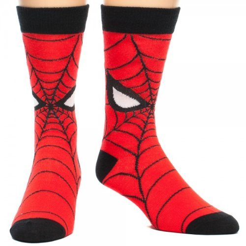 Marvel Comics Spiderman Spidey Crew Sock, Red, Sock size 10-13, Shoes 6-12