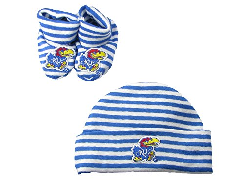 Kansas Jayhawks Blue White Striped Infant Newborn Hat Booties Baby Gift Set KU