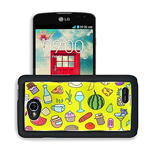 Luxlady Premium LG Optimus L70 Dual Aluminum Backplate Bumper Snap Case IMAGE ID: 43414645 Seamless pattern with food Hand drawn vector Good for backgrounds fabric kitchen and cafe stuff (Blue Corn Cafe compare prices)