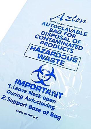 Plástico BWY250 Biohazard Bolsa, 302 mm x 660 mm: Amazon.com