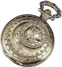 Pacifistor - Reloj de bolsillo mecánico, diseño con mecanismo a la vista y números romanos, acero, color bronce
