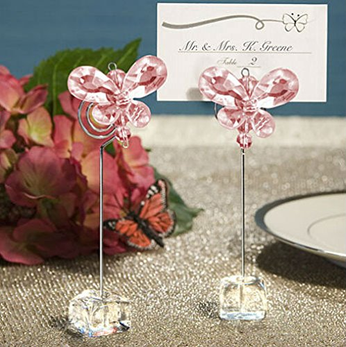 Crystal Butterfly Place Card/Photo Holders Baby Shower Gifts & Wedding Favors, 12