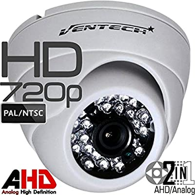 Ventech HD 1.0MP 720P AHD Dome Security Camera indoor 2.8mm wide angle Lens 24 IR LEDs ICR Auto Day Night Video Surveillance Work with Analog and AHD DVRs