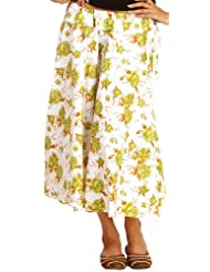 Exotic India White Drawstring Skirt With Printed Green Flowers - White