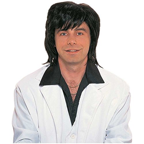 70s Black Shag Men's Costume Wig