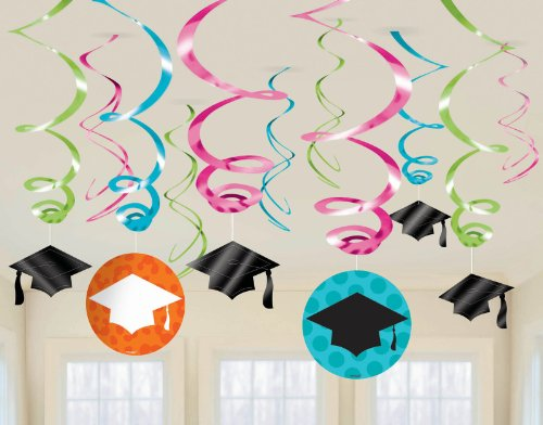 Colorful Commencement Plastic Swirls