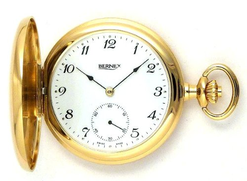 Bernex Swiss Made Gold Plated Pocket Watch with 17 Jewel Mechanical Movement