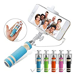 Foldable Selfie Stick,Aux Selfie stick Self-portrait Monopod with Adjustable Phone Holder for iPhone 6 6s Plus 5s, Samsung Galaxy S6 S5, Android (Wired Selfie Stick).