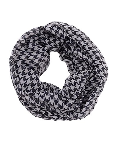 Mfrannie® Women'S Houndstooth Printed Sheer Infinity Scarf Black