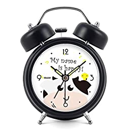 3 inches Non-ticking Silent Quartz Bedside Twin Bell Alarm Clock with Nightlight and Noctilucent Pointer, 90*120*50mm, black