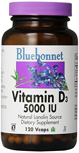 Bluebonnet Vitamin D3 5000 IU Vegetable Capsules, 120 Count