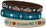 Bracelet-Stretch Bangle-He Loves Me (Set Of 3)