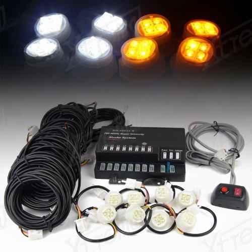 Xtreme® 160W 8 Led Bulbs Hide-A-Way Emergency Hazard Warning Strobe Lights - White & Yellow/Amber