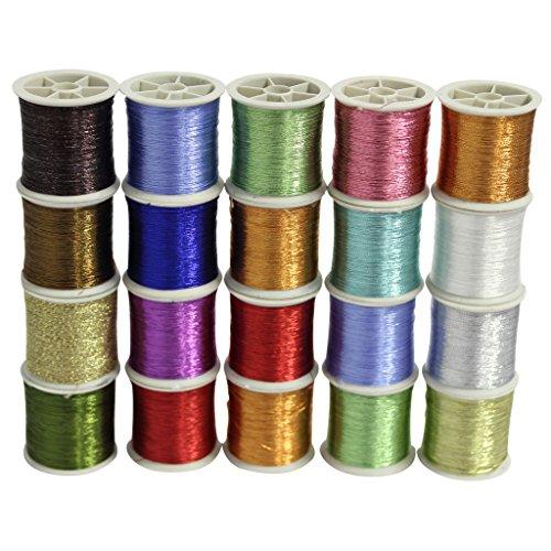 Confezione da 20 Rocchetti di Filo Metallico Glitterato in Poliestere per Cucito in Colori Assortiti a marchio CurtzyTM